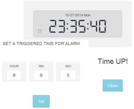 Digital alarm clock by HTML5