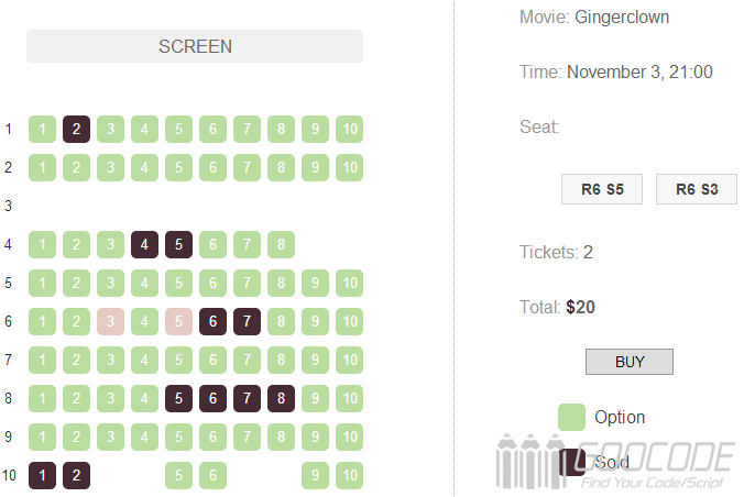 jQuery election seat reservations online (theater piece