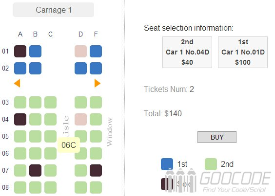 Jquery Online Seat Selection High Speed Rail Edition