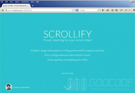 Use the mouse wheel or sliding gestures to browse the page node section by scrollify